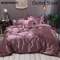 Satin Silk Bedding Set Lace Luxury Duvet Cover Set Couple Quilt Covers