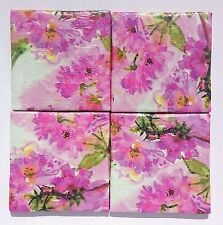 4 Handmade Coasters. Upcycled Tiles. Heat, Water Resistant. Felt Backed. Floral.