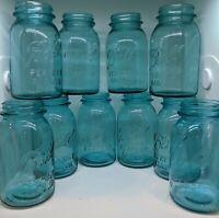 Lot of 10 Assorted Blue Ball Perfect Mason Jars Quarts *Vintage