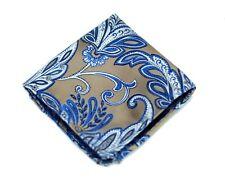Umberto Algodon Napoli Men's Gold Blue Floral Paisley Woven Pocket Square