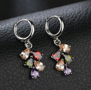 Flower Style Multi Amethyst Garnet Citrine Gems Silver Lady Dangle Hook Earrings