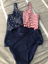 New Justice Girls Swimsuit Sz 18 Plus Swim Wear 1 Pc American Flag Bathing Suit