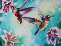 Hummingbird painting original oil 12x16 inches palette knife impressionism art