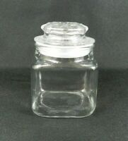 """Anchor Hocking Small Apothecary Storage Jar Square Clear Glass Stopper Lid 4""""H"""