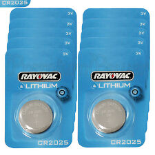 10 x Rayovac CR2025 batteries Lithium 3V Coin cell Watch ECR2025 BR2025 EXP:2023