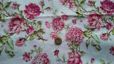 Pink & Green Flowers on Off White Cotton Fabric  Scrap Quilting Sew Craft