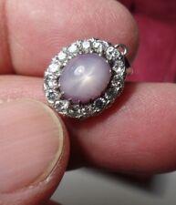 Vintage Genuine Star Sapphire Pendant with Diamonds in Platinum