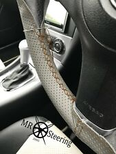 Para Toyota Prius 3 Gris Cubierta del Volante Cuero Perforado Marrón Doble STT