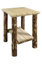 Wooden OUTDOOR End Table, Amish Made Log Furniture, Solid Wood Porch Stand