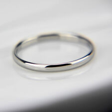 18K white gold plated plain classic 2mm thin engagement wedding ring size 6