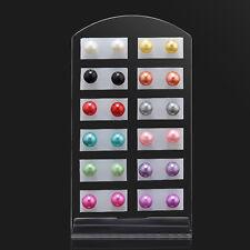 12 Pairs Korean Elegant Cute Pearl Round Ear Stud Earrings with Display Stand