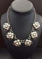 Sterling Silver Flower choker necklace