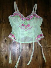 CACIQUE LANE BRYANT EMBROIDERED BUSTIER CORSET GARTER 14/16 NEW MINT GREEN