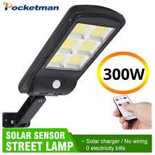 Solar LED Street Light 300W COB Waterproof Sensor Remote Control Wall Road Lamp