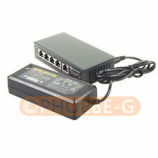 DSLRKIT 250M 5 Ports 4 PoE Switch Injector Power Over Ethernet 52V 75W max.90W