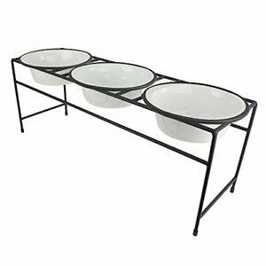 Platinum Pets Modern Triple Diner Feeder with Stainless Steel Dog Bowls Large...