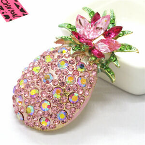 Hot Pink Bling Cute Fruit Pineapple Crystal Betsey Johnson Charm Brooch Pin Gift