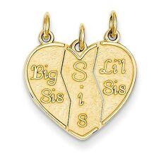 14K Yellow Gold 3 Piece Break Apart Heart Love Big Sis Lil Sis Charm Neckalce