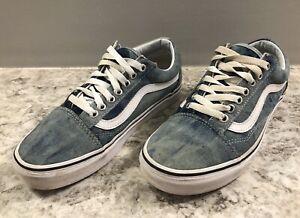 Vans Old Skool Denim Acid Wash Canvas Classic Skate Shoes women Size 8 Men 6.5