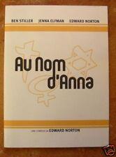 DOSSIER DE PRESSE - AU NOM D'ANNA - Ben STILLER / Jenna ELFMAN / Edward NORTON