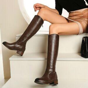 Retro Chunky Heels Knee High Heel Boots Sexy Clubwear Party Zipper Shoes Elegant