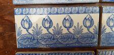 8 Antique Dutch Delft Blue White Edge Fireplace Floral Tulips Tiles tile