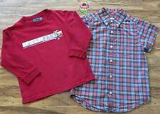 CHILDREN'S PLACE Boys Sz 4 4T Athletic Graphic TEE  Plaid Pocket SHIRT Lot of 2