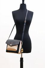 RALPH LAUREN Bramley Messenger BLACK Beige Rosewood PURSE Gold Leather NWT $198
