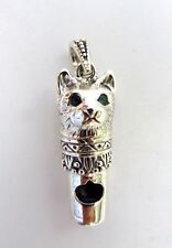 Sterling Silver Pet Cat animal working Whistle Charm pendant Antique style