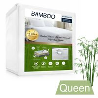 Bamboo Mattress Protector Queen Size Waterproof Bed Bug Dust Mite Hypoallergenic