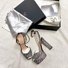 NEW-Giuseppe-Zanotti-Silver-Glitter-Platform-Heels-Sandals-Shoes-Ankle-Strap-85