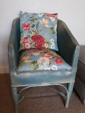 ATTRACTIVE WICKER BLUE/GOLD VINTAGE CHAIR, SPRUNG SEAT,NEW UPHOLSTERY & MATCHING