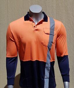 BAMBOO POLO SHIRT - Men - Long Sleeve - Reflectors - Orange - Hi Vis Safety Wear