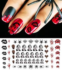 Dracula Vampire Halloween Nail Art Waterslide Decals  - Nail Salon Quality!