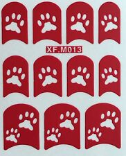 Nail Art Decal Stencil Stickers Paw Prints XF.M013