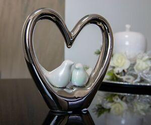 Deko Skulptur Herz 14,5cm weiß silber Vogel Figur Keramik Tischdeko Figur modern