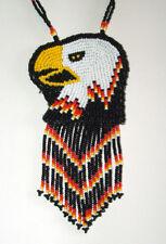 Beaded Eagle Head Necklace w/ Fringe Colorful Native Regalia