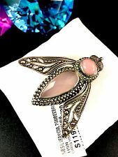 GORGEOUS NWT NICKY BUTLER 925 STERLING SILVER PINK CHALCEDONY BEE BROOCH