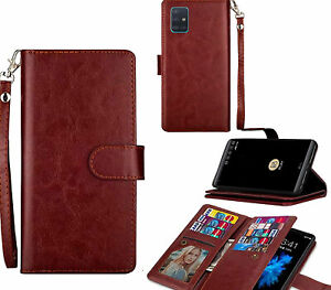 Galaxy A71 Case Double Wallet Fine Leather