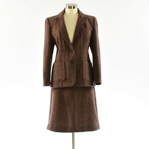 70s Vintage Womens Tweed Skirt Suit Blazer Size 14