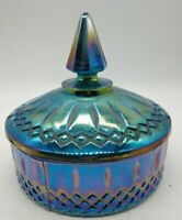 "Vintage Beautiful Princess Blue Carnival Indiana Glass Candy Dish & Lid 5.5""x6.2"