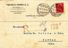 ZZ0817 - SINGOLO ISOLATO IMPERIALE SU CARTOLINA POSTALE PER ESTERO 12-05-33
