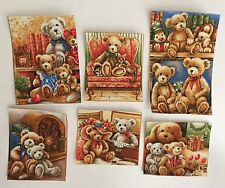 6 Huggable Teddy Bears Squares - Iron On Fabric Appliques