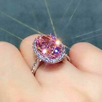 4Ct Oval Cut Pink Sapphire & Diamond Halo Engagement Ring 14K White Gold Finish