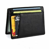Super Slim Soft Men's Business Wallet Mini Genuine Leather Credit ID Card Holder