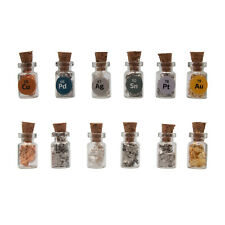 6 Full Tiny Cork bottles with 24K Gold,.999 Silver Copper Platinum Palladium Tin