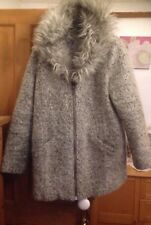 MARKS & SPENCER GREY TONED WOOL MIX & FUR TRIM ZIP UP JACKET - SIZE 16