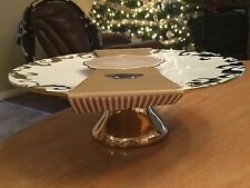 "NEW! CIROA LUXE BEAUTIFUL GOLD PEDESTAL CAKE PLATTER/PLATE - 12"" ROUND, 4"" TALL"