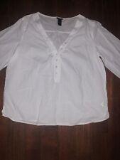 H&M White V Kneck Button Up Blouse Shirt Size 12