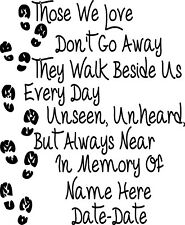 In Loving Memory Vinyl Decal Sticker Graphic Personalized Custom Car Window